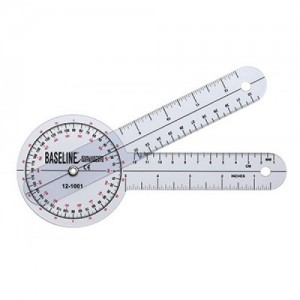 Baseline Plastic Goniometer - 360 Degree Head - 8 inch Arms